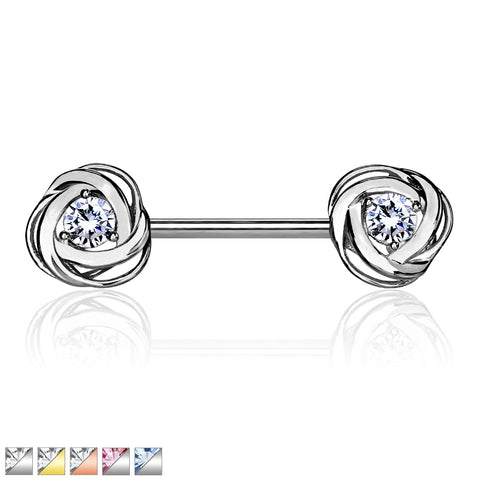 CZ Centered Rose Blossom Ends 316L Surgical Steel Nipple Barbell Ring