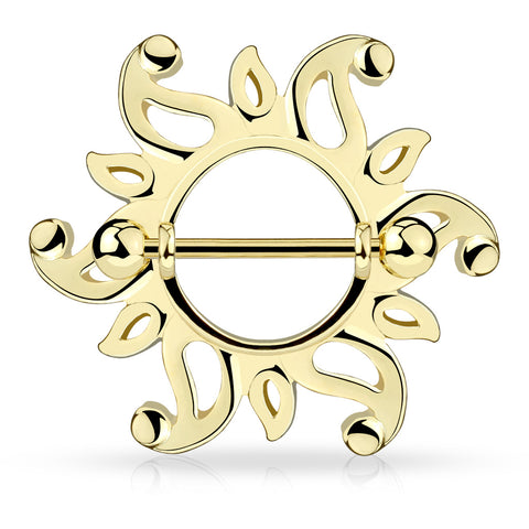 Swirling Sunburst Tribal Shield Nipple Ring with 316L Surgical Steel Barbell
