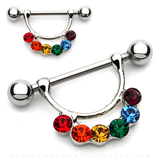 Rainbow Gem Attached 316L Surgical Steel Nipple Shield