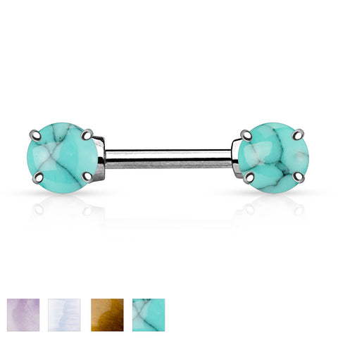 Semi Precious Stone Prong Set Ends 316L Surgical Steel Nipple Bar Ring