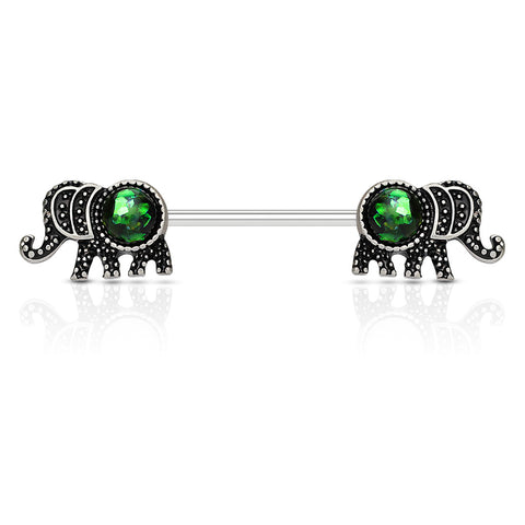 Elephant with Opal Glitter Set 316L Surgical Steel Nipple Barbell