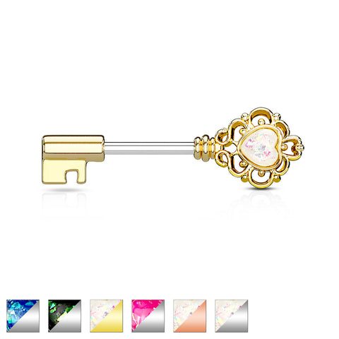 Opal Glitter Heart Centered Filigree Vintage Key 316L Surgical Steel Nipple Barbell Rings