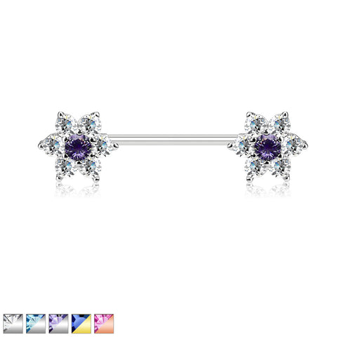 CZ Flowers on Both Ends 316L Surgical Steel Barbell Nipple Ring