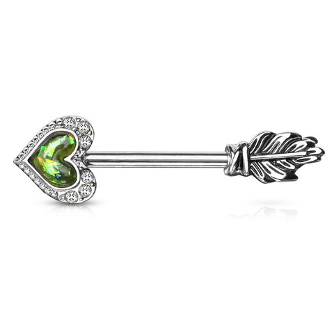 Opal Glitter Heart CZ Paved Outline Arrow with Feather End 316L Surgical Steel Nipple Barbell Ring