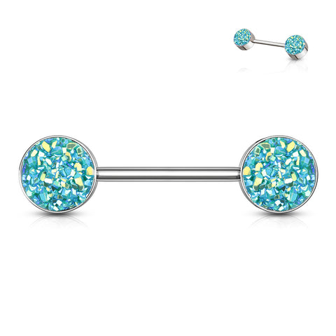 Druzy Stone Set Ends 316L Surgical Steel Barbell Nipple Ring