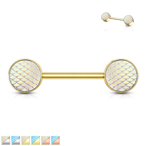 Holographic Dragon Scale Set Ends 316L Surgical Steel Barbell Nipple Ring