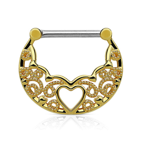 Filigree with Hollow Heart Center 316L Surgical Steel Nipple Clickers