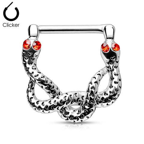 Red Gem Eyes Snakes 316L Surgical Steel Bar Nipple Clickers