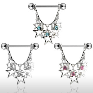 Stars with Crystals Dangle 316L surgical Steel Nipple ring