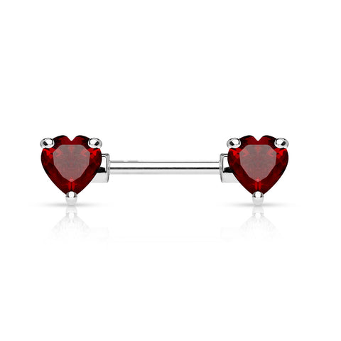Double Front Facing Heart CZ Prong set 316L Surgical Steel Nipple Bar