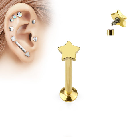 Star Top Internally Threaded 316L Surgical Steel Labret, Monroe, Cartilage Studs
