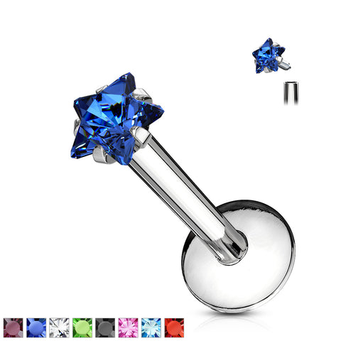 Star Gem Prong Set Labret 316L Surgical Steel Internally Threaded
