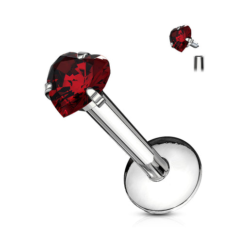 Heart CZ Prong Set Labret 316L Surgical Steel Internally Threaded