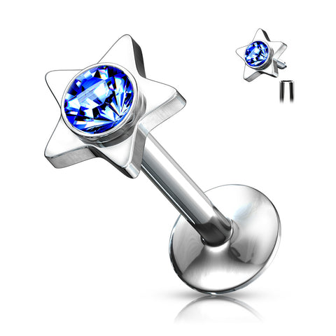 CZ on Star Top 316L Surgical Steel Internally Threaded Labret