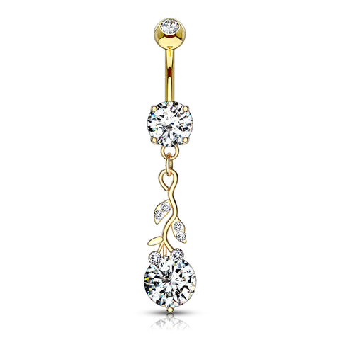 Gemmed Leafs with Large Round CZ Dangle 316L Surgical Steel Belly Button Navel Ring