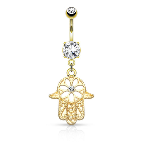 Beaded Outline Hamsa with Center CZ Dangle Navel Ring