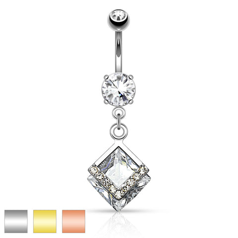 Mounted Diamond Shaped CZ with Paved CZs Dangle Navel Ring