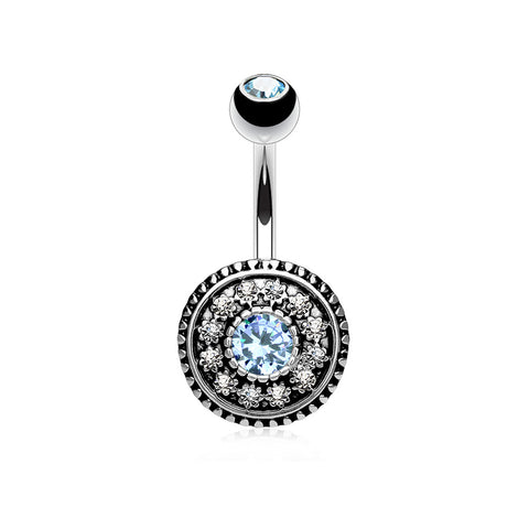 Multi Paved Vintage Shield 316L Surgical Steel Navel Ring