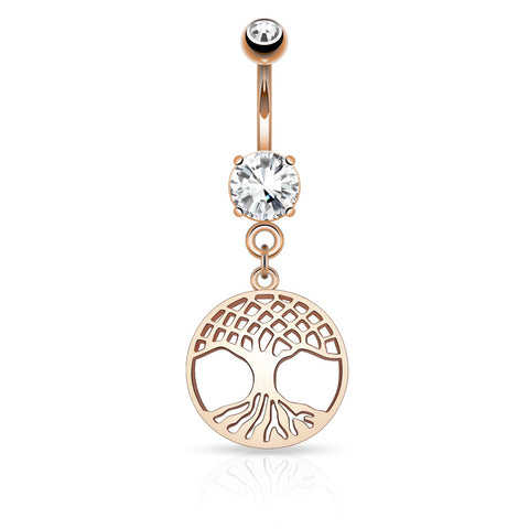 Round Tree of Life Dangle on Round CZ Prong set 316L Surgical Steel Belly Button Ring