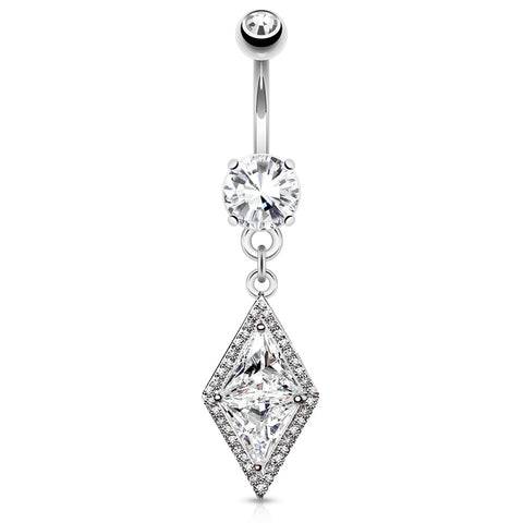 Large Dia CZ Center with CZ Paved Edges Double Tier Set Dangle 316L Surgical Steel Belly Button Navel Ring