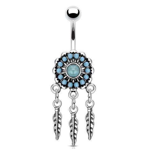 Turquoise Paved Dream Catcher 316L Surgical Steel Belly Button Navel Ring