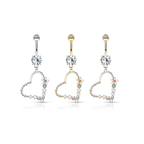 Double Jeweled Prong Set with Enamel Flowers and Opalite Stone Set Heart Dangle 316L Surgical Steel Belly Button Navel Ring