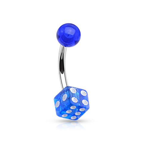 Arcrylic Dice 316L Surgical Steel Belly Button Ring