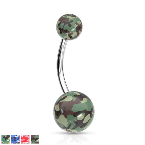 Camouflage Printed Balls Acrylic Navel Ring