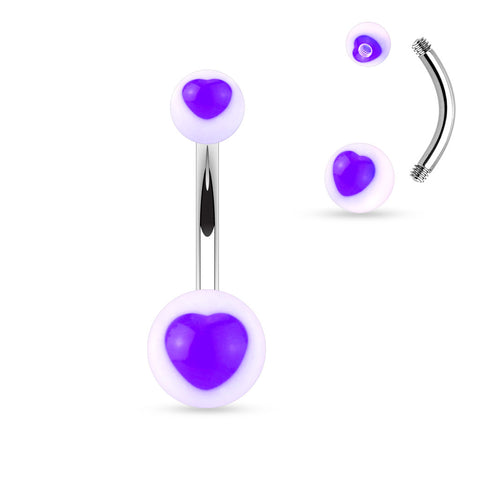 Colored UV Heart Center Acrylic Balls 316L Surgical Steel Navel Ring