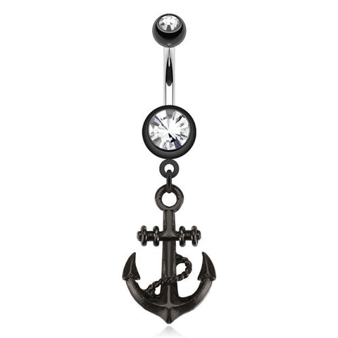 Black Anchor Dangle Navel Ring 316L Surgical Steel