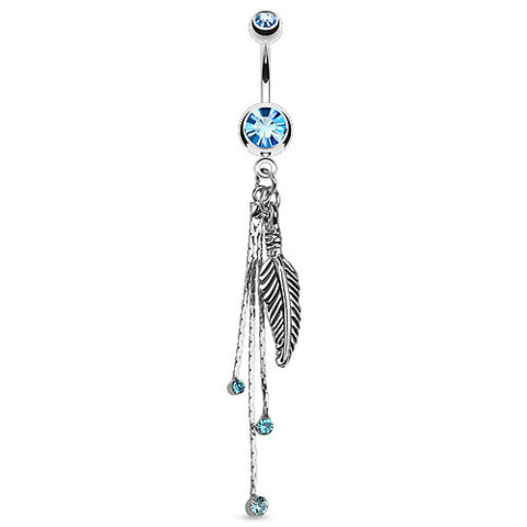Feather and Chains with CZs Dangle Navel Ring 316L Surgical Steel