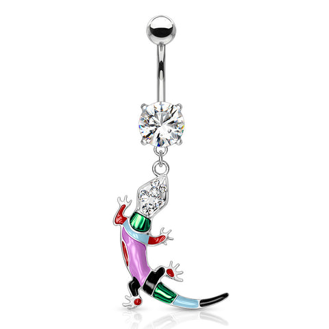 Lizard Multi Colored Epoxy with Gems Dangle Navel Ring 316L Surgical Steel