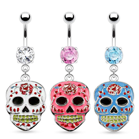 Sugar Skull Epoxy Dangle Navel Rings 316L Surgical Steel