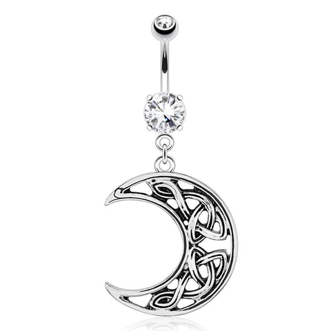 Crescent Moon with Weaving Pattern Dangle 316L Surgical Steel Navel Ring