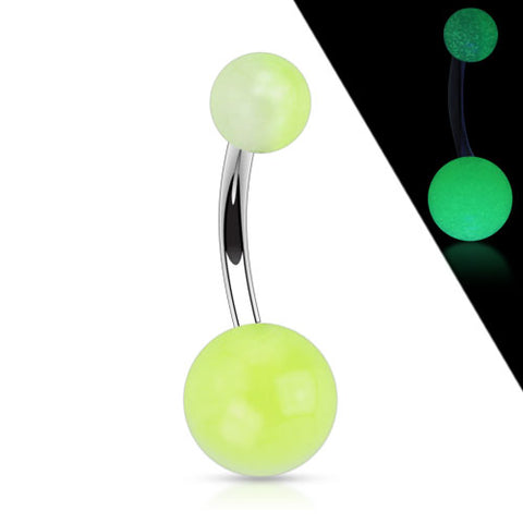 316L Surgical Stainless Steel Navel Ring with 2-tone Glow in the Dark Ball