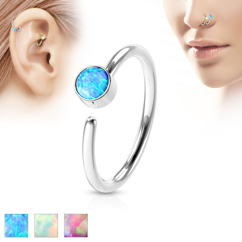Opal Set 316L Surgical Steel Nose Hoop Ring