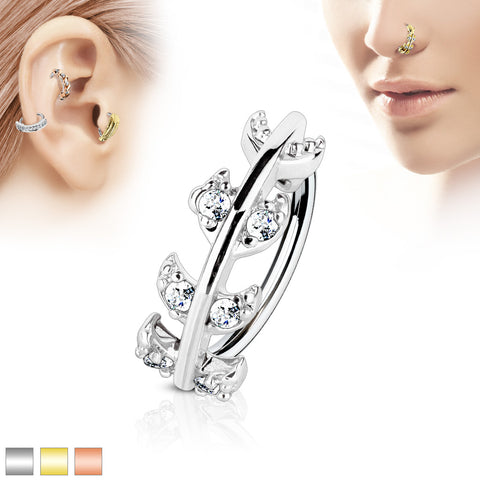 CZ Paved Vine Top 316L Surgical Steel Nose, Cartilage Hoop Ring