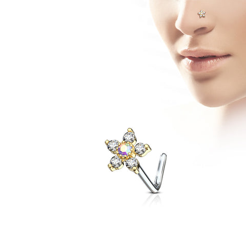 9 CZ Flower Top 316L Surgical Steel L bend Nose Stud Ring