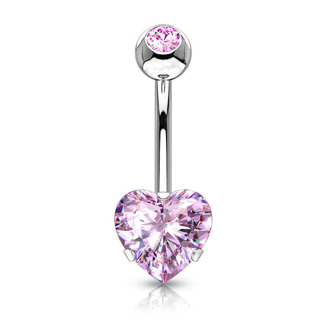 Heart CZ Prong Set Navel Ring 100% 316L Surgical Steel