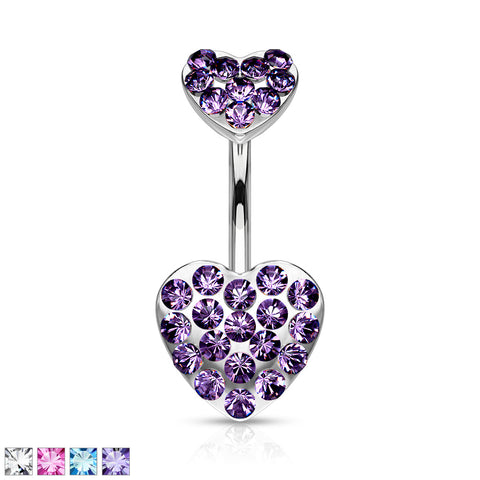 Paved Gemmed Hearts 316L Surgical Steel Navel Ring
