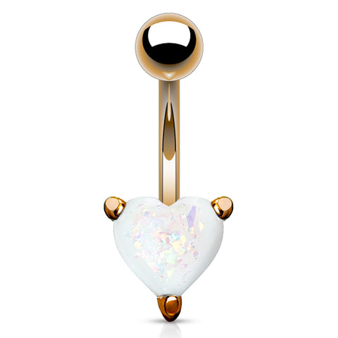 Opal Glitter Heart Prong Set Rose Gold IP Over 316L Surgical Steel Belly Button Navel Rings