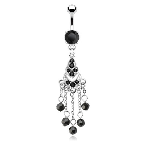 Chandelier Black Multi Gemmed w/Beads Dangle with 316L Surgical Steel Prong Set Black Gem Navel