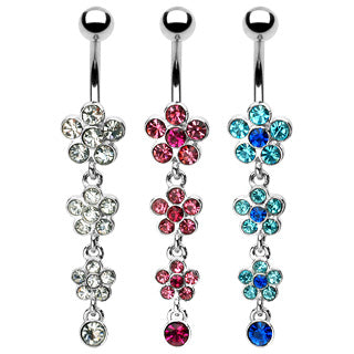 Flower Petal Gem Paved Dangle w/Gemmed Flower Navel