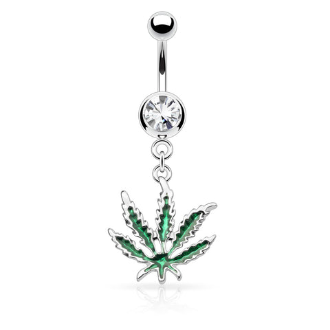 Pot Leaf Dangle 316L Surgical Steel Belly Ring