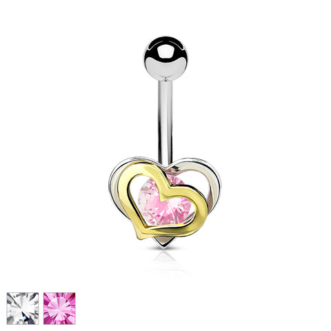 Gold and Steel Two-Tone Double Heart with CZ 316L Surgical Steel Belly Button Navel Ring