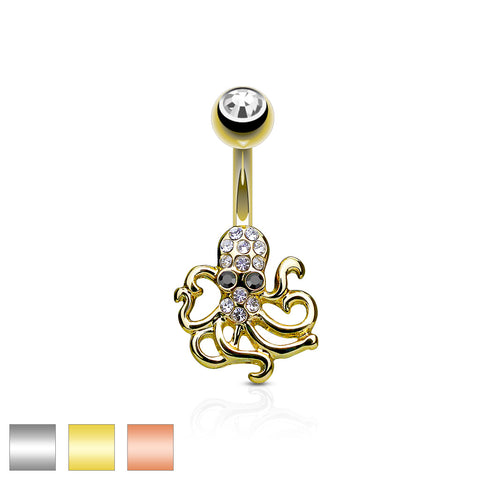 Crystal Paved Octopus Belly Button Navel Rings 316L surgical Steel
