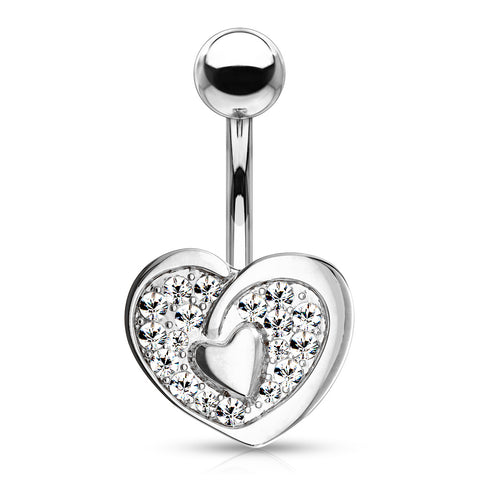CZ Paved Heart with Heart Center 316L Surgical Steel Belly Button Navel Rings