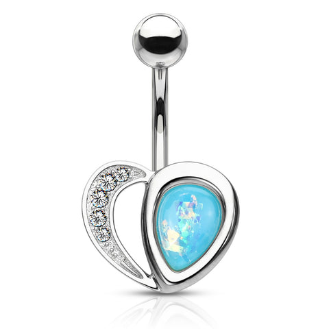 Crystal Paved Heart with Opal Glitter Half 316L Surgical Steel Belly Button Navel Ring