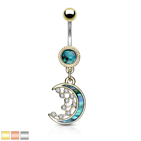 Mother of Pearl Inlay Crescent Moon and CZ Stars Dangle 316L Surgical Steel Belly Ring
