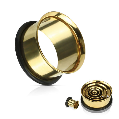 Single Flared Tunnel Plug Gold Ionized Plating Over 316L Surgical Steel with O-ring